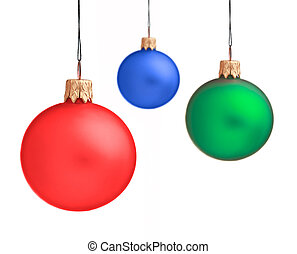 Several hanging Christmas baubles