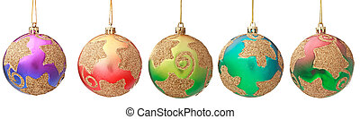 Several hanging Christmas baubles isolated
