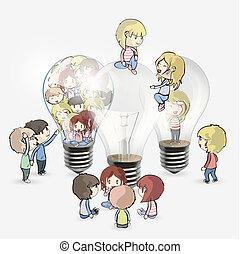 Several kids around bulb. Vector design.