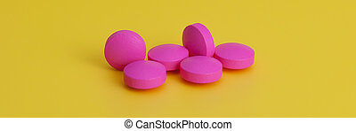 Several large bright pink tablets on a yellow background. In the center of the image.