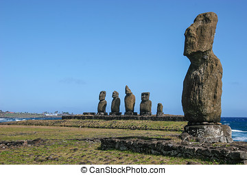 Several moai on Easter Island