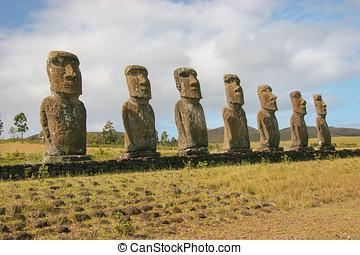 Several moai on Easter Island