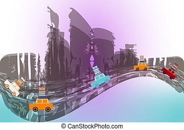 Several moving cars on an abstract city background