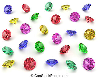 Several multi-coloured gemstones - Several multi-coloured...