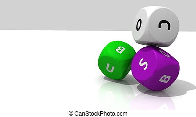 Several multicolor rolling dices against a white background...
