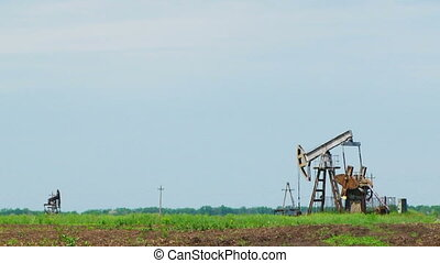 Several oil-producing towers in the field - Several oil...