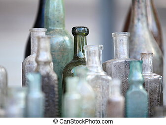 old bottle - several old bottle on the table close to