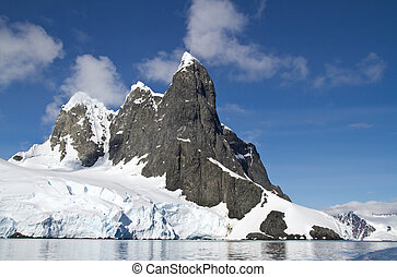 several peaks in the Antarctic island in a sunny day