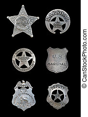 Several Police and Sheriff Badges - Several old, vintage...
