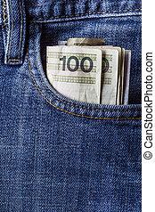 several Polish banknotes jeans pocket
