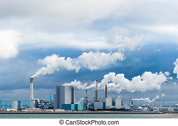several power plants - Several power plants in a large...
