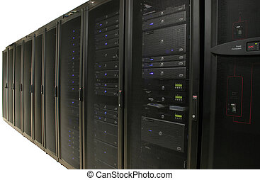 Several racks of 1u and 2u servers in black cabinets. Image...