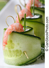 Several rolls of fresh cucumber with shrimp macro