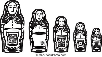 Several Russian Nested Dolls - woodcut style image of a...