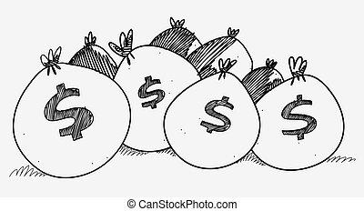 Several sacks of money piled on the floor