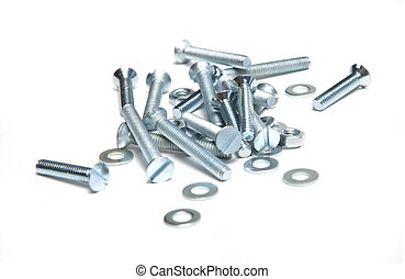 Several screws isolated on white background