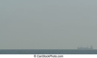 Several Shades of Grey - An ultra-wide shot of a barge, ...