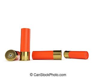 Several Shotgun Shells - Several orange shotgun shells...
