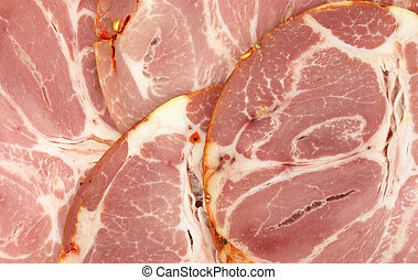 Several slices of hot capicola - Group of several slices of...