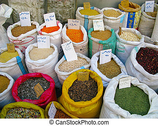 Several spices on market Jordan - Several spices in bags on...