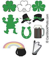 Several St. Patrick's Day symbols ideal for promotions, invitations, and greeting cards.