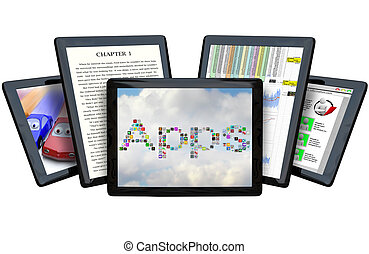 Several Tablet Computers Showing Off Capabilities - Five ...