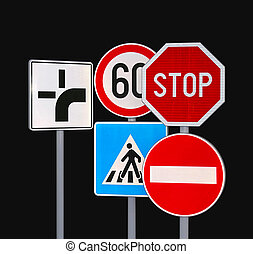 Traffic Signs - Several Traffic Signs at Black Background