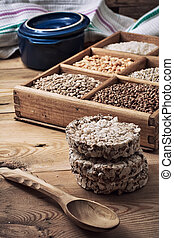 cereals in a wooden box in rustic style