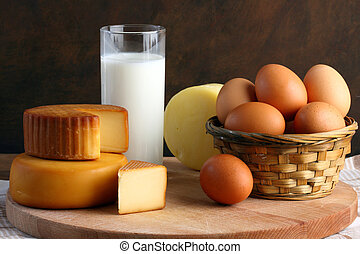 cheese, milk and eggs