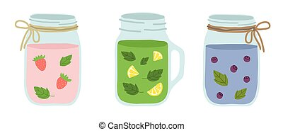 Several types of smoothies on white background. With strawberries, mint, blueberries.