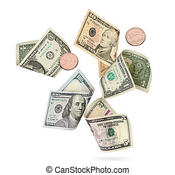 Several us paper currency. American dollars is flying over white background