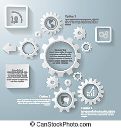 Several White Gears Infographic - White gears on the grey...