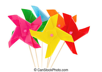 several windmills toys for kids