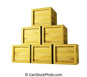 several wooden crates 3d rendering