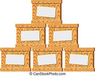 Several wooden crates. Vector illustration