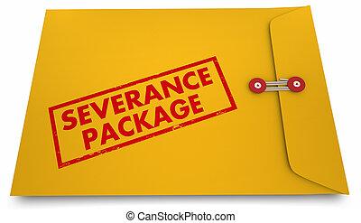 Severance Package Job Termination Benefits Envelope 3d Illustration