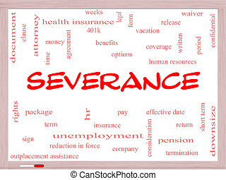 Severance Word Cloud Concept on a Whiteboard