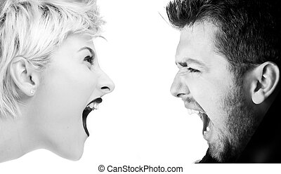 Severe Conflict - Young man and woman shouting at each...
