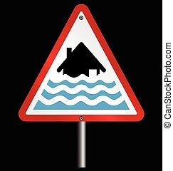 Severe flood Warning - Severe flood alert warning sign fixed...