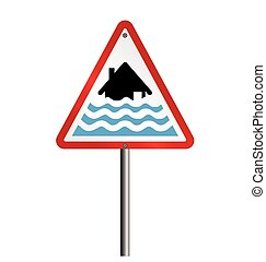 Severe flood Warning - Severe flood alert warning sign fixed...