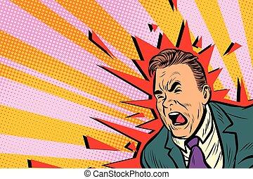 Severe headache male. Pop art retro vector illustration