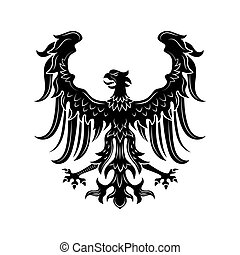 Severe heraldic eagle vector illustration. Imperial heraldry, hawk with open wings and beak, noble bird. Monarchy or nobility concept for royal insignia or heraldic badge templates