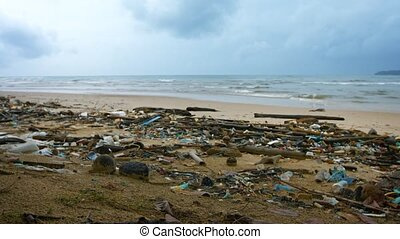 Severe Pollution on a Tropical Beach in Southeast Asia -...