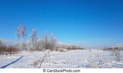 Severe Russian winter snowy landscape, frosty day - Winter...