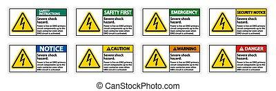Severe shock hazard sign on white background