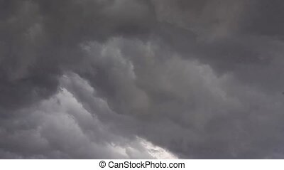 Severe stormy sky. The movement of dark clouds