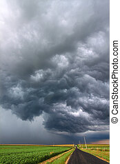 A Severe Thunderstorm forms over the flat farmlands of central Illinois.