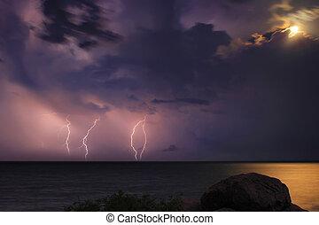 Severe thunderstorm over the ocean.