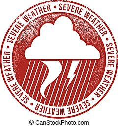 Severe Weather Icon Stamp - Vintage style rubber stamp ...