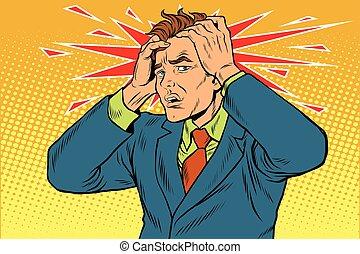 severo, hombres, dolor, dolores de cabeza
